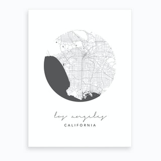 Los Angeles California Circle Map Art Print