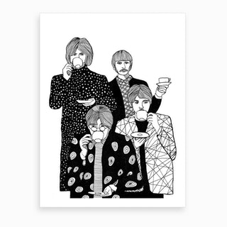 The Beatles Drinking Tea Art Print