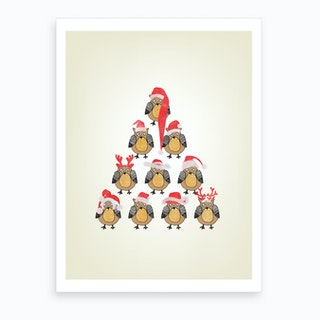 Christmas Owls Art Print