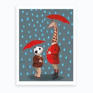 Panda With Giraffe Art Print