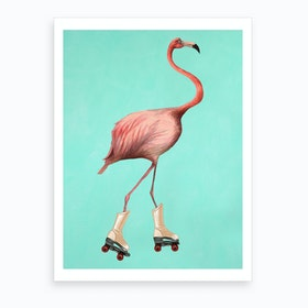 Rollerskate Flamingo Art Print