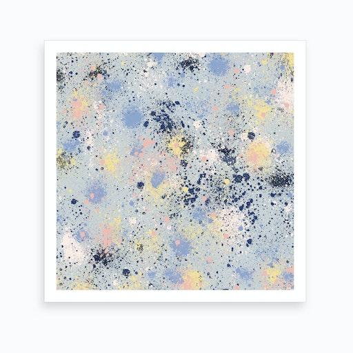 Ink Dust Blue Square Art Print