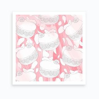 Raspberry Rose Macarons Art Print