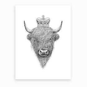 The King Highland Bull Art Print