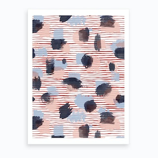 Watercolor Stains Stripes Red Art Print
