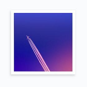 Deep Blue Sky And Plane Art Print