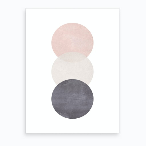 Pink Grey And Black Cotton Texture Abstract Circles Art Print