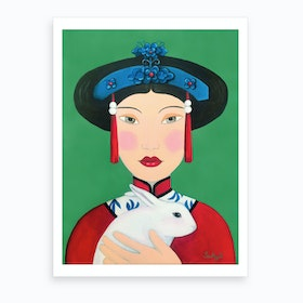 Chinese Woman And Rabbit Art Print