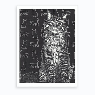 Tabby Cat Black And White Art Print
