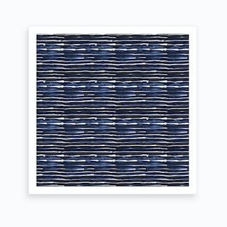 Electric Lines Navy Square Art Print