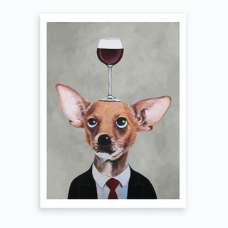 Chihuahua With Wineglass Art Print