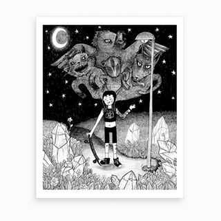 Witchy Skateboarder Art Print