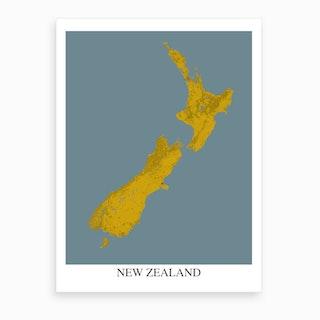 New Zealand Yellow Blue Map Art Print