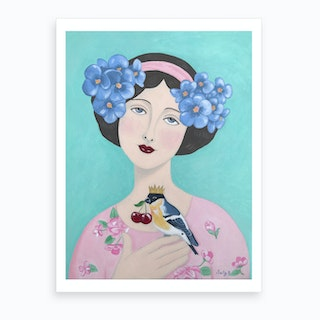 Woman With Bird And Cherry Art Print