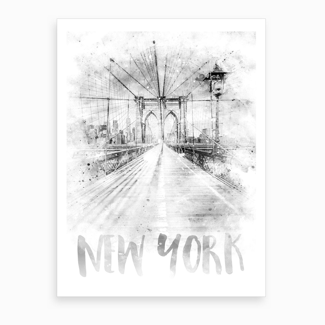 Watercolor Art Nyc Brooklyn Bridge Art Print