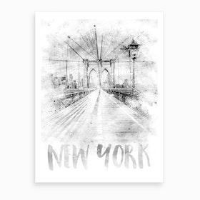 Watercolor Art Nyc Brooklyn Bridge Art Print