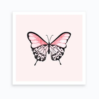 Pink Butterfly Square Art Print