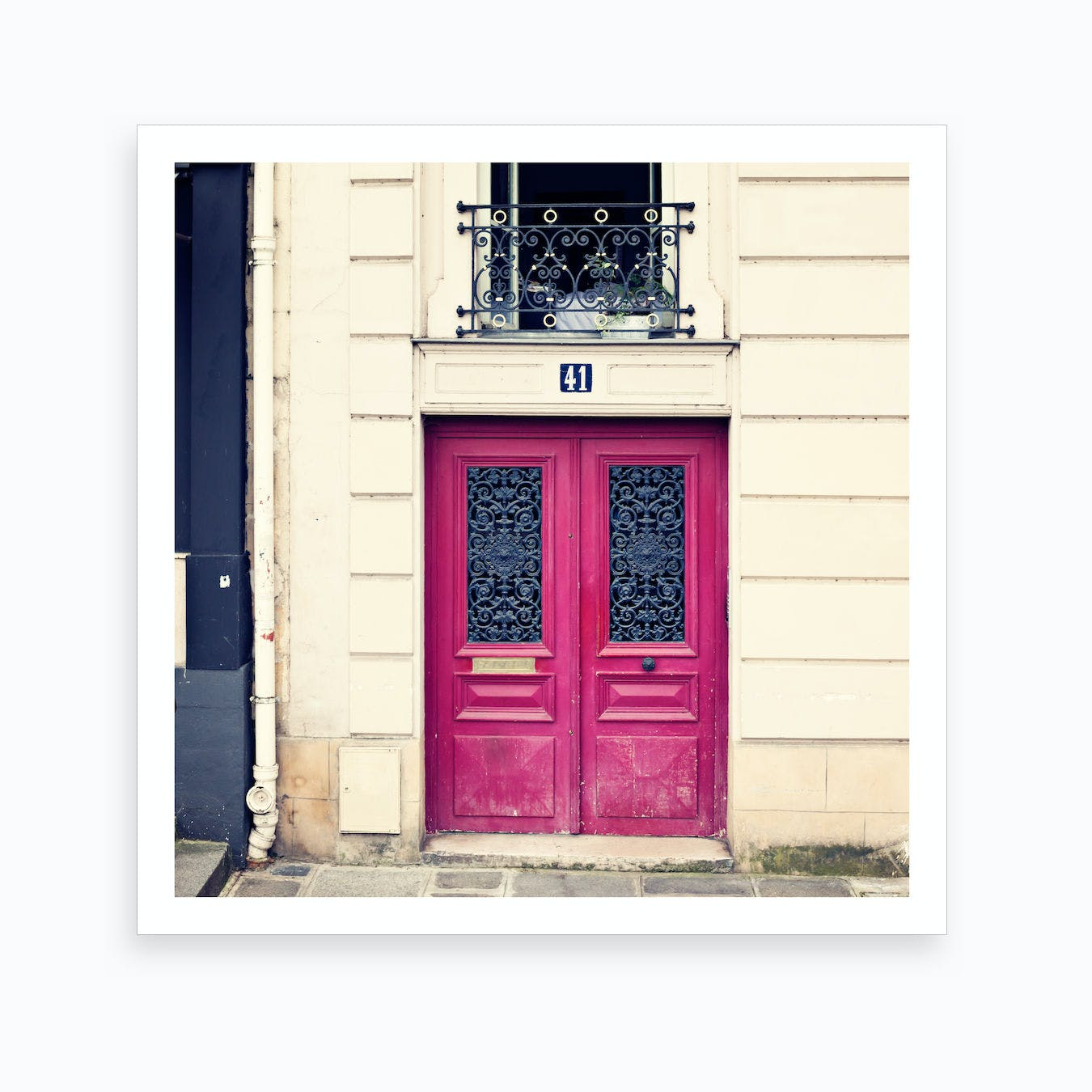 Paris Hot Pink Door Art Print
