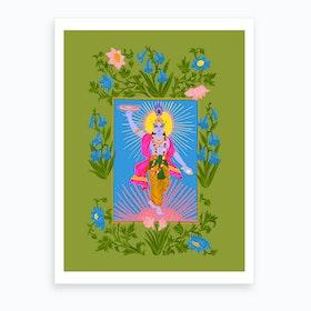 Krishna Green Art Print