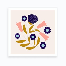 Dark Blue And Pink Retro Flower Composition 2 Art Print