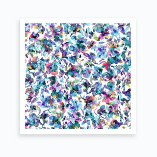 Aquatic Flowers Blue Square Art Print