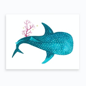 Whale Shark With Coral Art Print