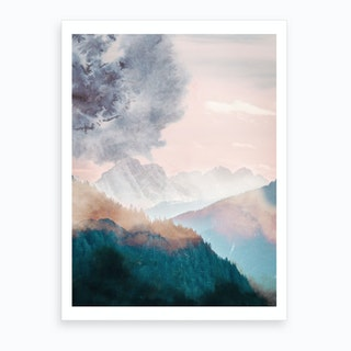 Rainbow Colour Mountains Art Print