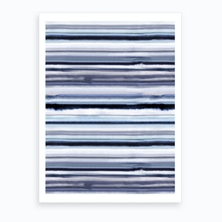 Degrade Stripes Watercolor Navy Art Print