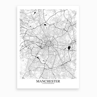 Manchester White Black Map Art Print