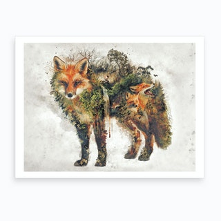 Surreal Fox Art Print