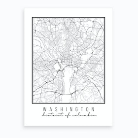Washington Dc Street Map Art Print