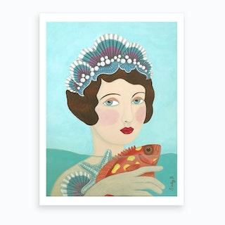 Woman And Seashells Art Print