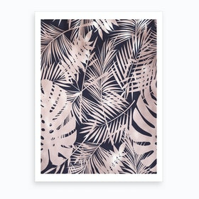 Royal Blue with Baby Pink Leafs Art Print