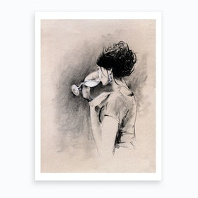 Woman With Wine Illustration  Art Print
