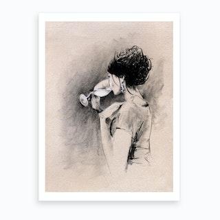 Woman With Wine Illustration  Art Print