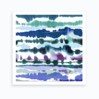 Soft Mediterranean Watercolor Lines Blue Art Print