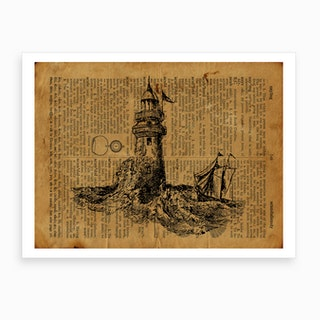 Lighthouse And Boat Art Print