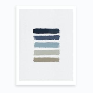 Blue & Taupe Stripes  Art Print