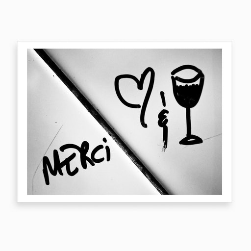 Merci Love Wine Art Print