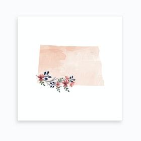 North Dakota Watercolor Floral State Art Print