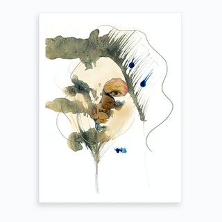 Woman Behind Roses Art Print