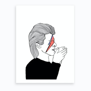 David Bowie Drinking Tea Art Print