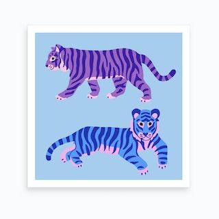 Blue And Purple Tigers Art Print