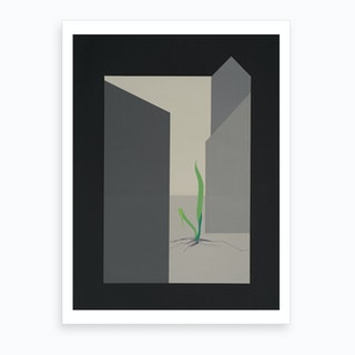 Nature Defies Concrete Environment. Green Gras. Art Print