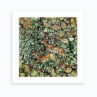 Hedgerow Deer Art Print