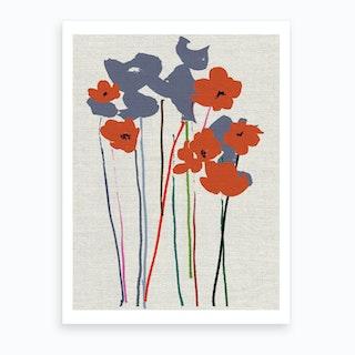 Printed Poppies Art Print