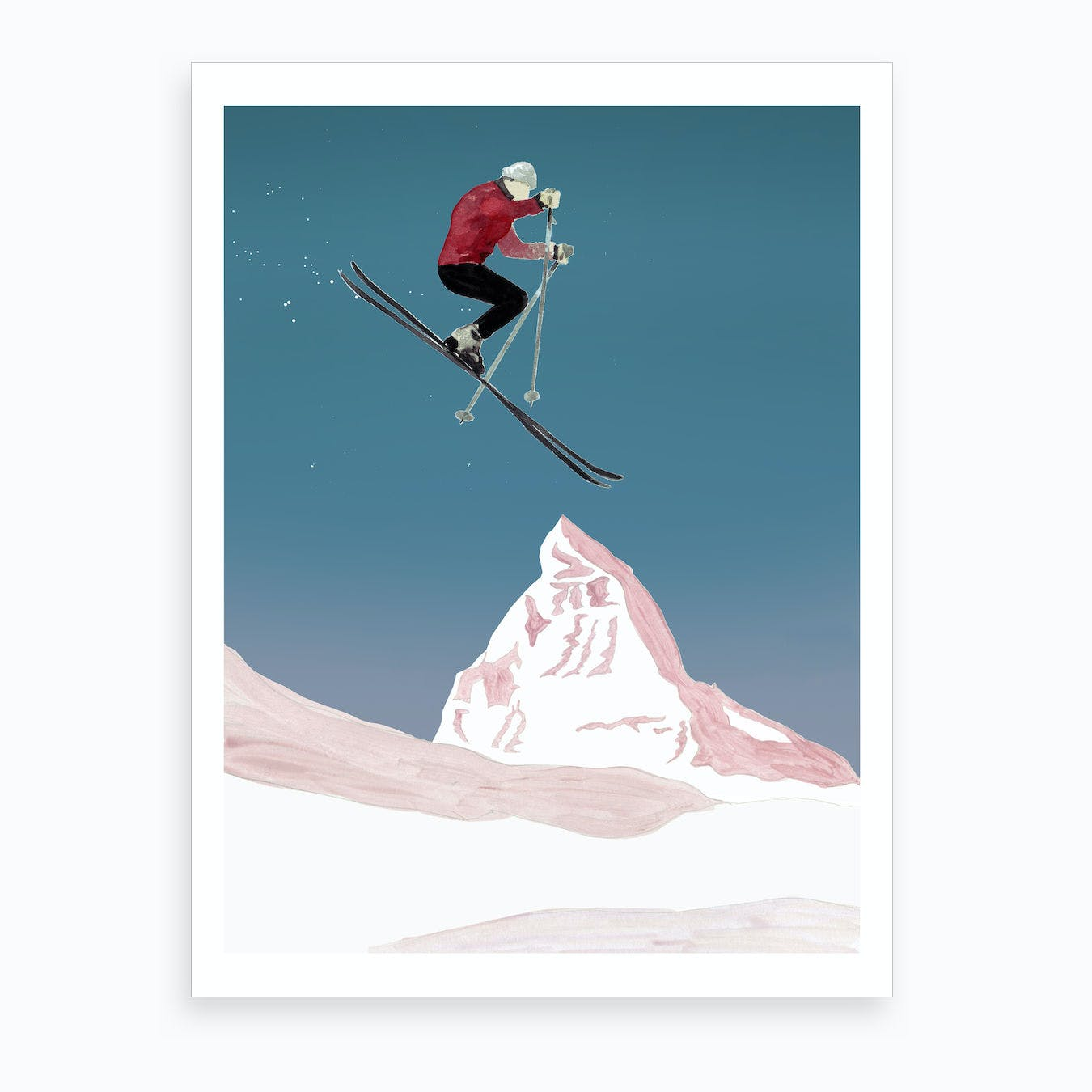 Mountain Love   Skier Art Print