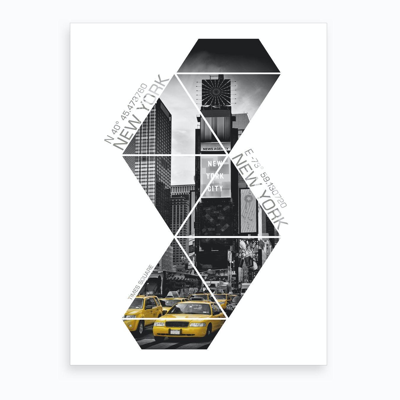 New York City Times Square Coordinates Art Print