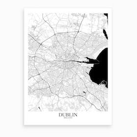 Dublin White Black Map Art Print