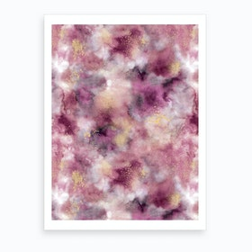 Smoky Marble Watercolor Pink Art Print